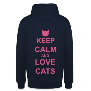 Keep Calm and Love Cats - Pink - Unisex Hoodie