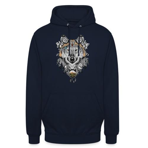 Wolf für Männer, Schrift Gold - Unisex Hoodie