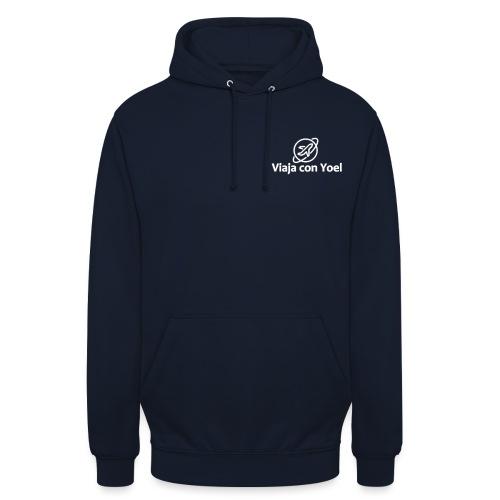 Viaja con Yoel White Logo - Sudadera con capucha unisex