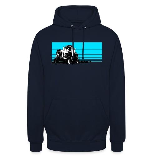 Sunset tractor cyan - Felpa con cappuccio unisex