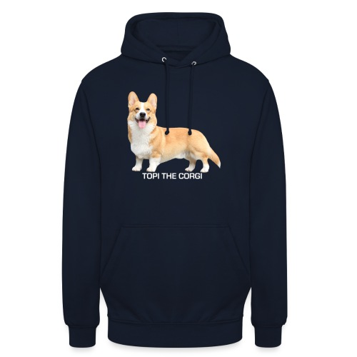 Topi the Corgi - White text - Unisex Hoodie