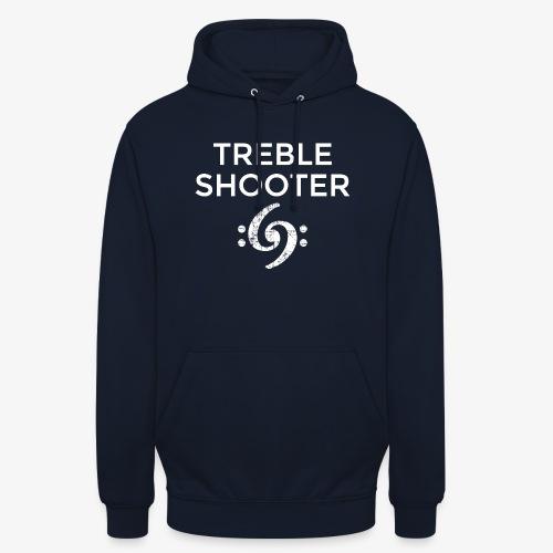 Treble Shooter Bass Design (White) - Unisex Hoodie