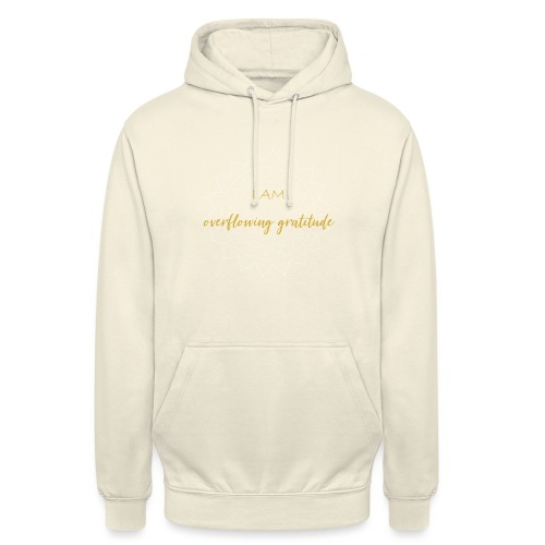 I am overflowing gratitude gold white mandala - Unisex Hoodie