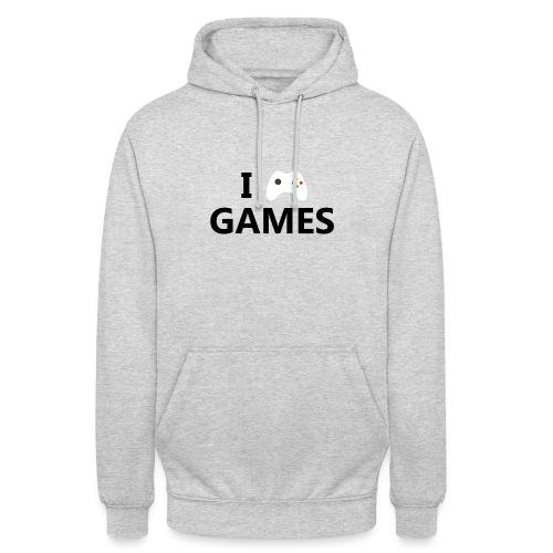 I Love Games - Sudadera con capucha unisex