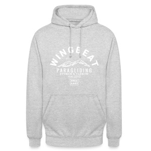 wingbeat logo - big - on back - in white - Unisex Hoodie