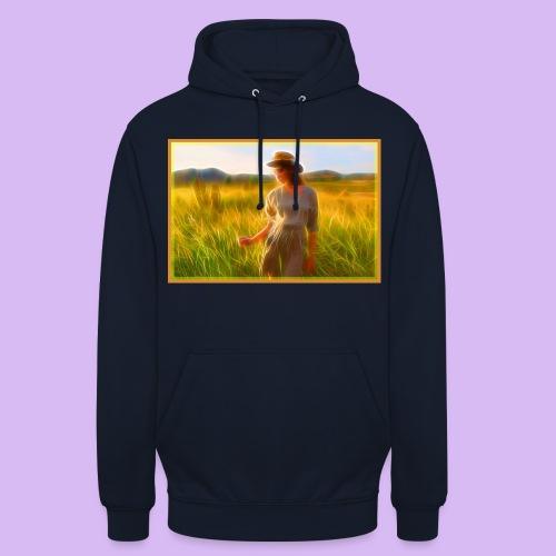 Donna tra gli steli d' erba - Felpa con cappuccio unisex