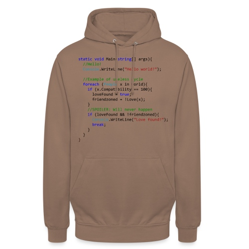 Love seen by a C# programmer - Felpa con cappuccio unisex