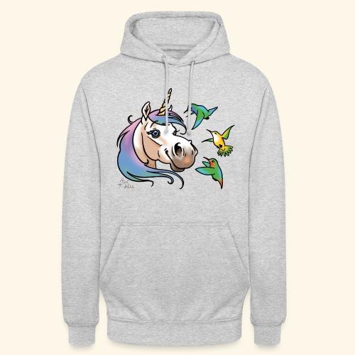 Einhorn und Kolibris - Sweat-shirt à capuche unisexe