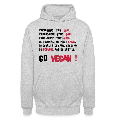 GO VEGAN - Sweat-shirt à capuche unisexe