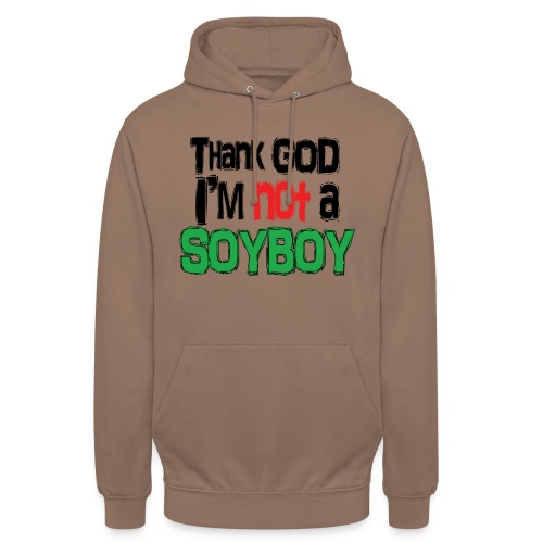 Thank God I'm NOT A SOYBOY black red green - Unisex Hoodie