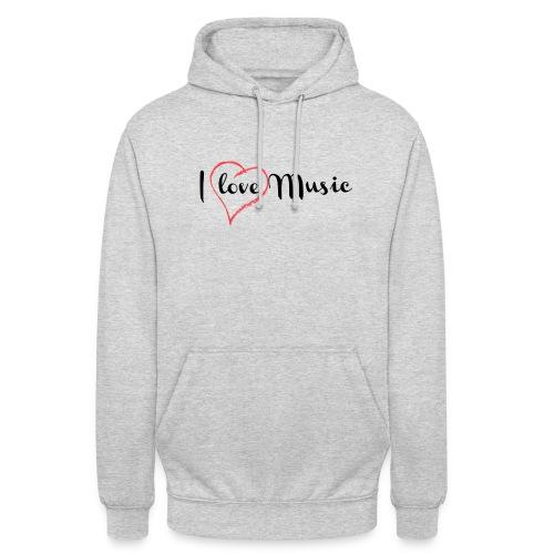 I Love Music - Felpa con cappuccio unisex
