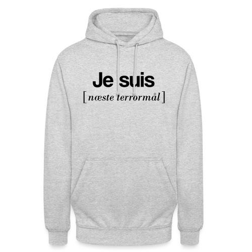 Je suis (sort skrift) - Hættetrøje unisex