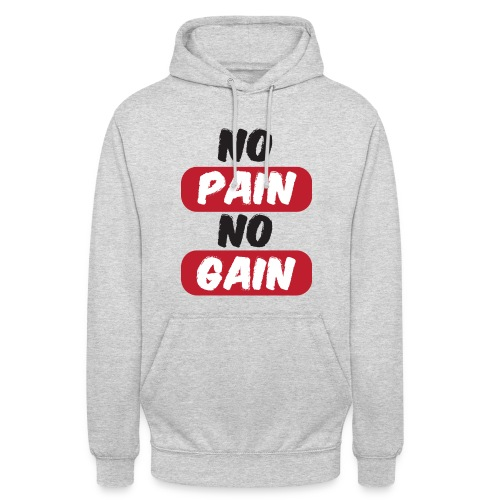 no pain no gain t shirt design fitness - Felpa con cappuccio unisex