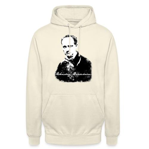 Baudelaire (fond blanc) + signature - Sweat-shirt à capuche unisexe
