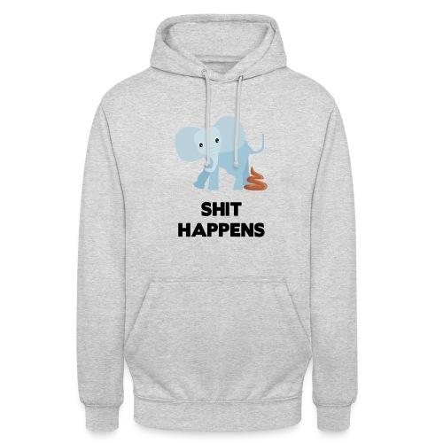 olifant met drol shit happens poep schaamte - Hoodie unisex