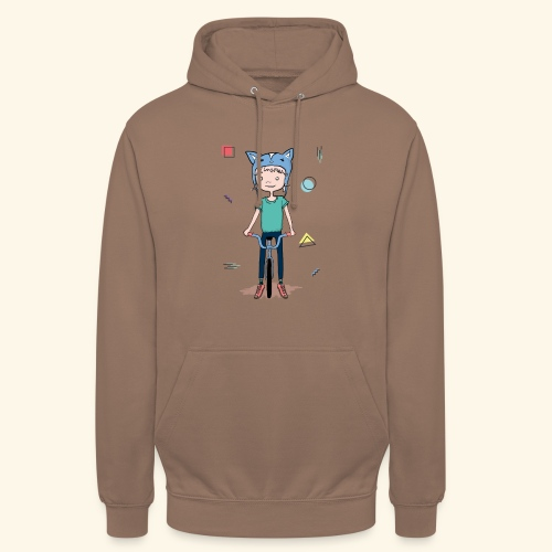 Girl with a cat hat on a bike - 90's - Sweat-shirt à capuche unisexe