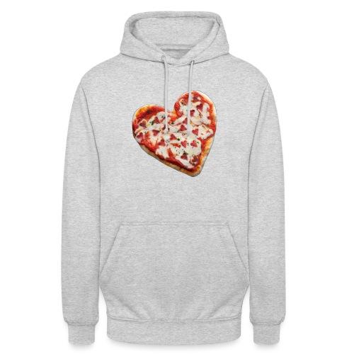 Pizza a cuore - Felpa con cappuccio unisex