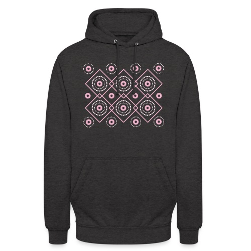 pink geometric print - Bluza z kapturem typu unisex