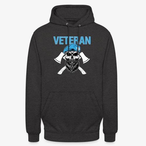 Veteran - Dödskalle med blå basker och yxor - Luvtröja unisex