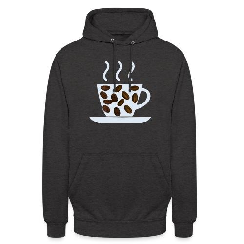 grey cup cofee with beans - Felpa con cappuccio unisex