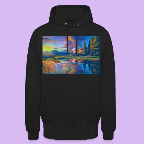 Paesaggio al tramonto con laghetto stilizzato - Felpa con cappuccio unisex