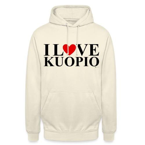 """I LOVE KUOPIO (koko teksti, musta) - Huppari """"unisex"""""""