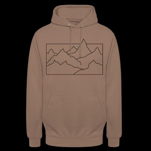 Kontur Gebirge schwarz - Unisex Hoodie