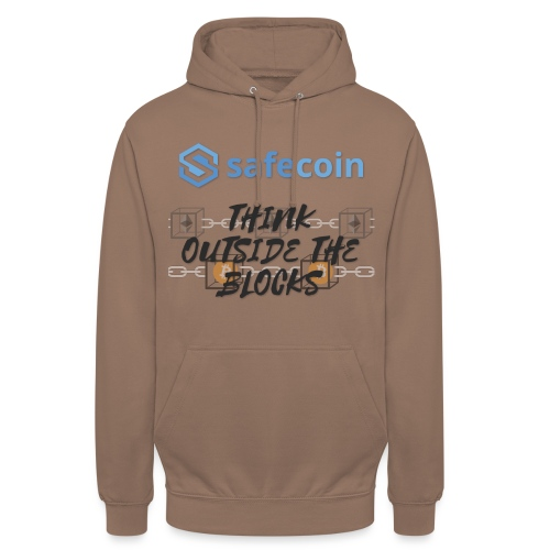 SafeCoin; Think Outside the Blocks (black + blue) - Unisex Hoodie
