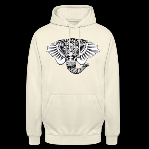 Elephant Ornate Drawing - Felpa con cappuccio unisex