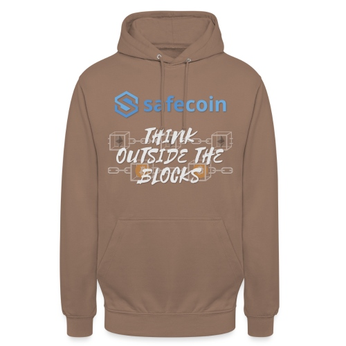 SafeCoin; Think Outside the Blocks (blue + white) - Unisex Hoodie