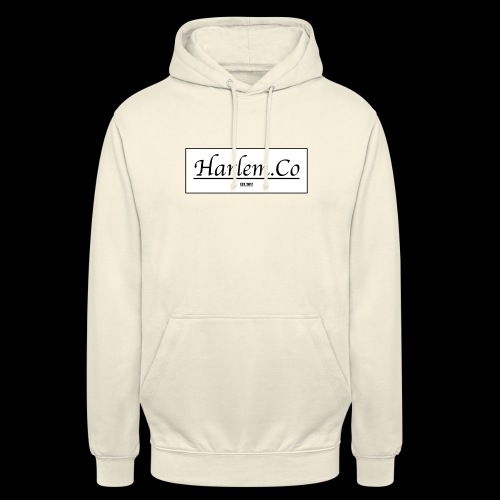 Harlem Co logo White and Black - Unisex Hoodie