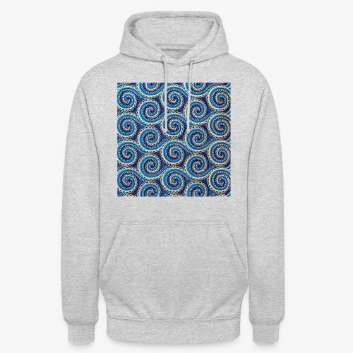 Spirales au motif bleu - Sweat-shirt à capuche unisexe