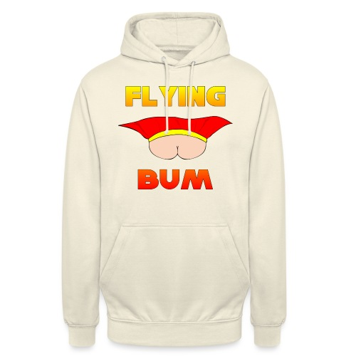 Flying Bum (face on) with text - Unisex Hoodie