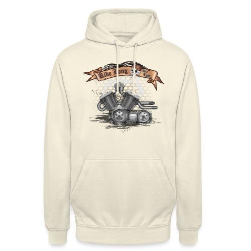 Biker T-shirt mit V Motor & Totenkopf - Unisex Hoodie