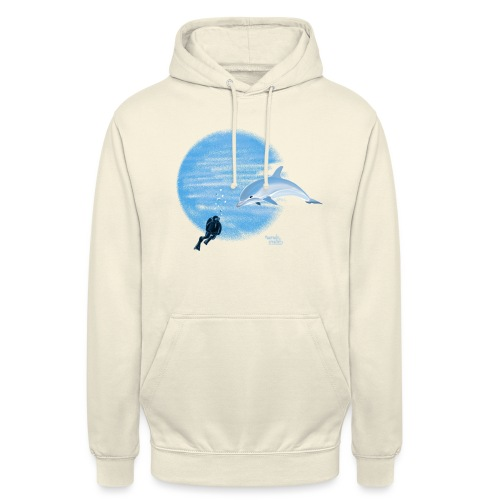 Dolphin and diver - Maillots - Sweat-shirt à capuche unisexe