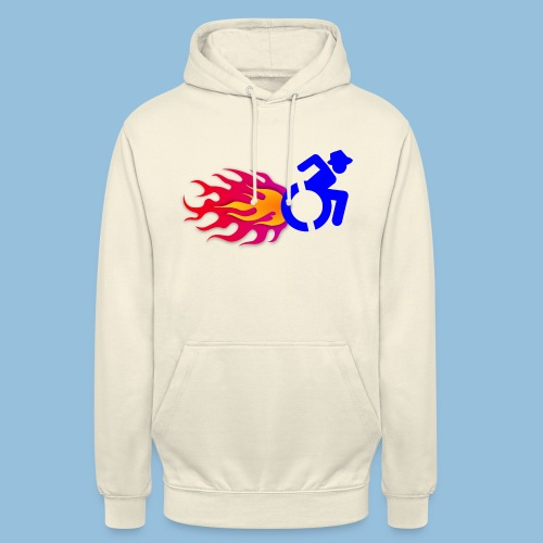 Wheelchair with flames 012 - Hoodie unisex
