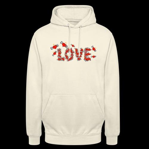 Flying Hearts LOVE - Hættetrøje unisex