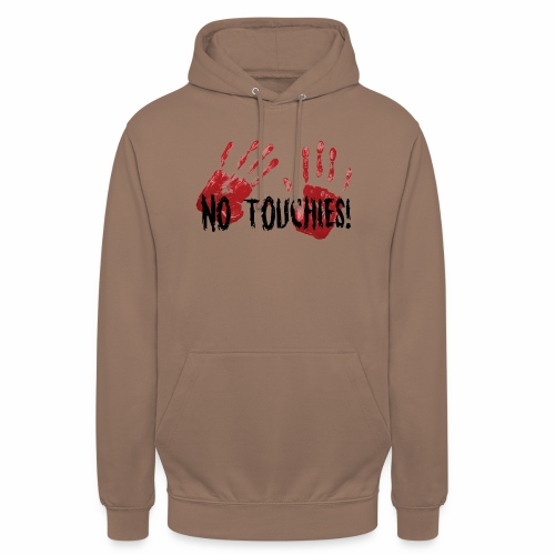 No Touchies 2 Bloody Hands Behind Black Text - Unisex Hoodie