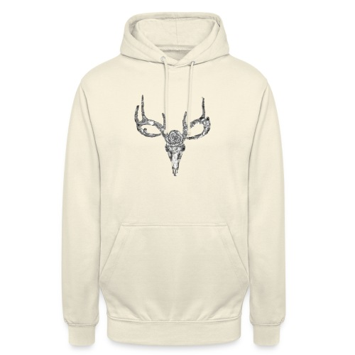 "Deer skull with rose - Huppari ""unisex"""