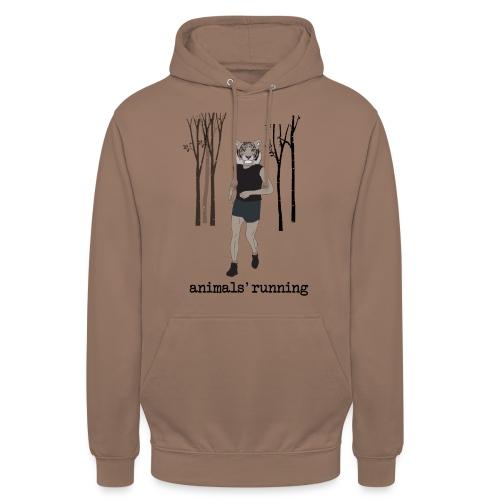 Tigre gris running - Sweat-shirt à capuche unisexe