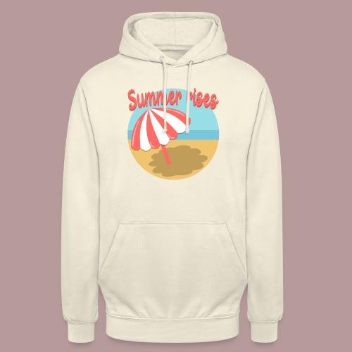 Summer rises parasol sur une plage / mer ciel été - Sweat-shirt à capuche unisexe