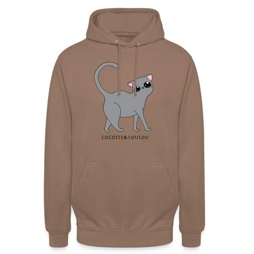 Bibi chat gris - Sweat-shirt à capuche unisexe