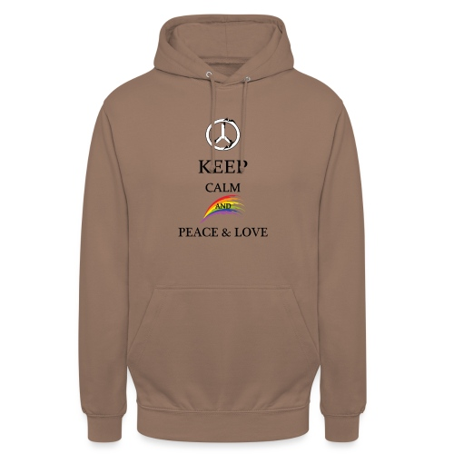 keep calm and Peace & Lov - Felpa con cappuccio unisex