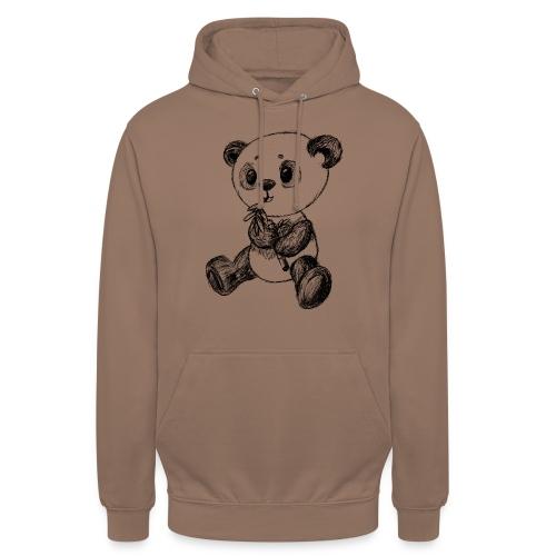 Panda bjørn sort scribblesirii - Hættetrøje unisex