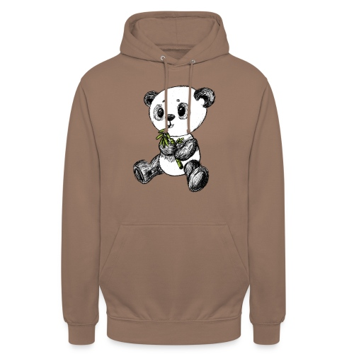 Panda bjørn farvet scribblesirii - Hættetrøje unisex