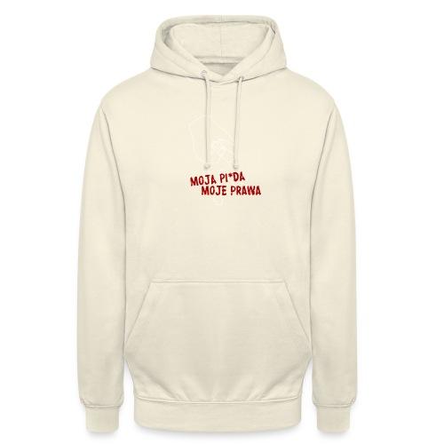 moja piz*da moje prawa (białe) - Bluza z kapturem typu unisex