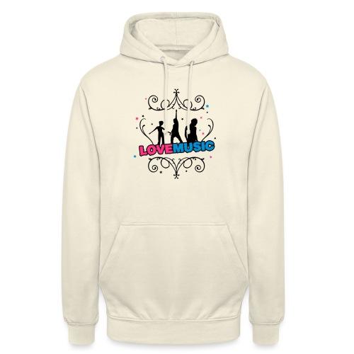 Motif Love Music - Sweat-shirt à capuche unisexe