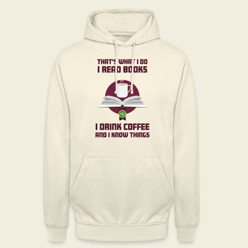 Buch und Kaffee, dunkel - Unisex Hoodie