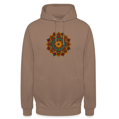 HANDPAN hang drum MANDALA teal red brown - Unisex Hoodie