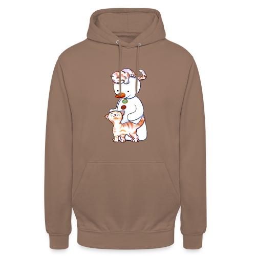 Deux petits chats et Jou le bonhomme de neige - Sweat-shirt à capuche unisexe